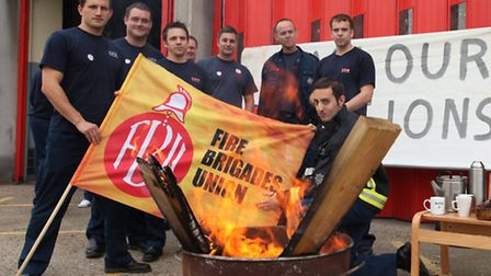 Fiirefighters from Poplar fire station went on strike over pension cuts