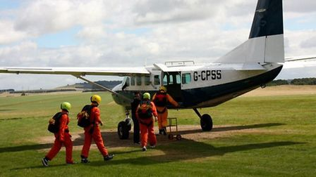 Air cadets hop on board a plane for their first sky dive