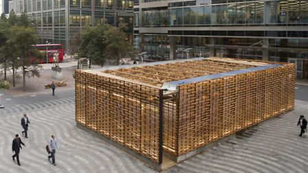 Tabernacle erected at Canary Wharf marking the Jewish festival of Sukkot