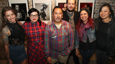Curator Marion Thill with some of the artists from the Art of Tattoo exhibition in Trinity Buoy Whar