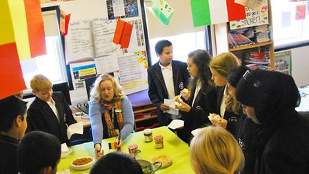 Geraldine O'Leary with students
