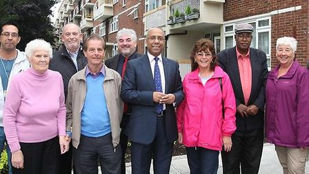 Mayor Lutfur Rahman with council staff and residents