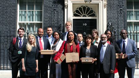 MP Rushanara Ali is joined by campaigners supporting calls for money transfer agencies to be protect