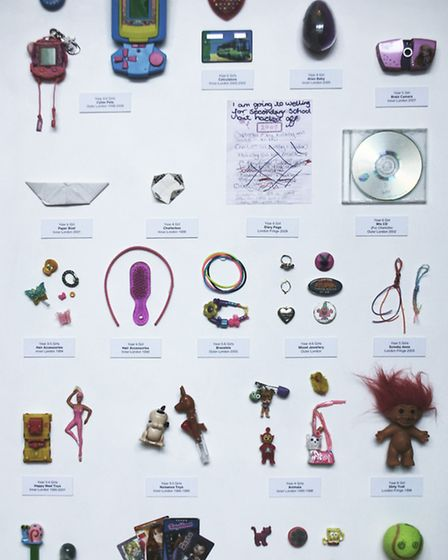 A cabinet of items confiscated from pupils going on display in the exhibition at the V&A Museum of C