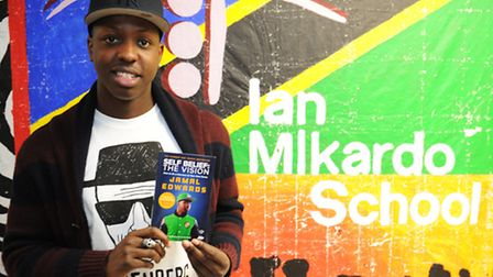 """Jamal Edwards at The Ian Mikardo High School in Bromley By Bow with his new book, """"Self Belief The V"""
