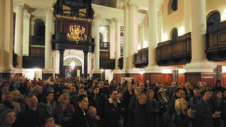 Packed launch of Gentle Author's London Album at Spitalfields Church [picture: Jeremy Freedman]