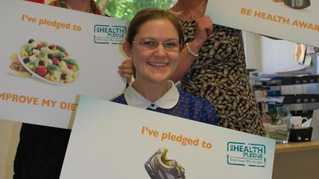 Hospital staff make health pledge… Kirsty Baker (front) with Laura Eviston and Rebecca Ryder