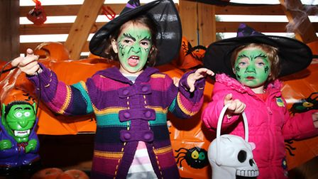Melissa Badica, left, and Isabel Herescu at the 'Spooky Barn' in Newham City Farm.