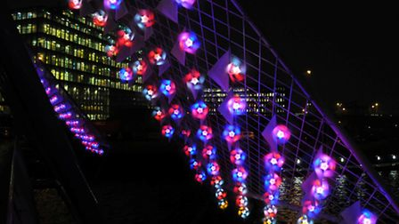 The sail shaped lights promise to transform Canary Wharf for six weeks beginning December 16