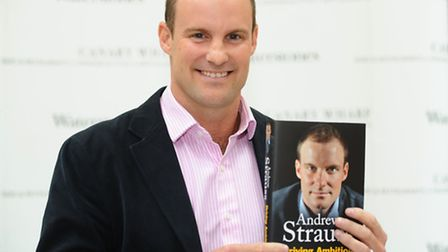 Andrew Strauss at the book signing of his book in Canary Wharf.