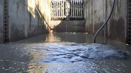 Nothing but mud... Limehouse tidal lock is drained