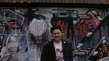 Philip at site of old Shoreditch Mortuary where Mary Kelly's body lay