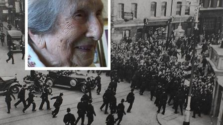1936... the scene at Cable Street (inset: Hetty Bowers at 107)