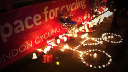 Candles at Bow roundabout yesterday evening for the London Cycling Campaign-organised vigil. Picture