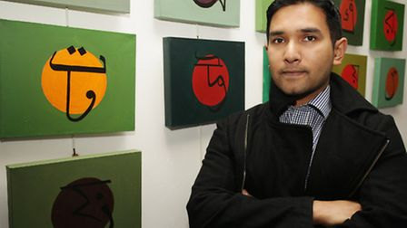 Saif Osmani with some of his work at the Brady Arts Centre
