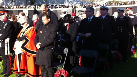 Mayor Lutfur Rahman's chair was left empty during the Remembrance service on Sunday