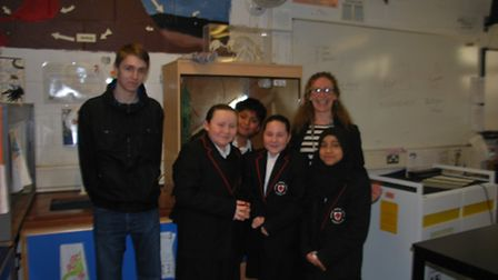 Dr Nicola Glen (right) with Craig Lockyer (left) joined by Year 7 pupils from George Green's School