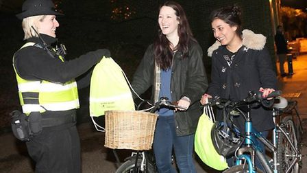 Tower Hamlets Enforcement Officer Bryony Parkinson with Danielle Linsday and Alisha Patel