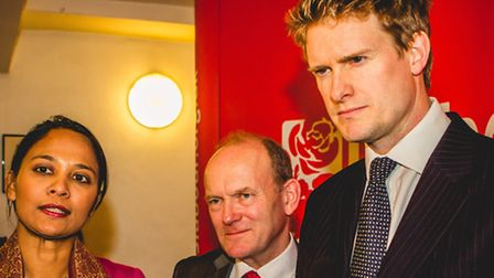 Shadow Education Minister Tristram Hunt (right) after his visit to Morpeth School with MP Rushanara