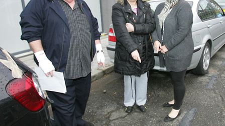 Ken Hilton, Jo Green and Julie Sammut with the repainted parking bay