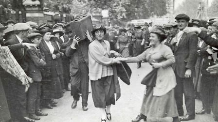 Minnie Lansbury, one of 19 councilors being led off to jail in 1921 Poplar Rates strike