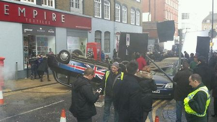 The road near Liverpool Street was shut as a black cab was blown up for the 24 scene (Picture: @Goon