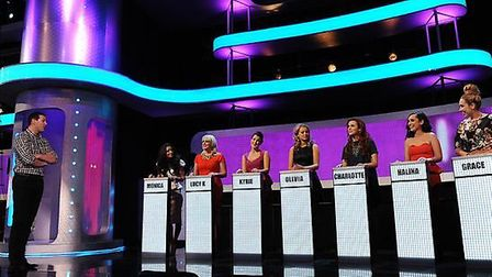 Lucy Kuy second from the left on the Take Me Out set