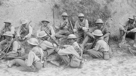 A group of Indian Cavalry dismounted near Fricourt in July 1916 Photo c IWM