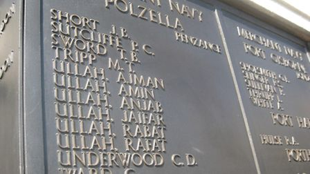 South Asian names on the Tower Hilll memorial to seamen who lost their lives in the First and Second
