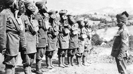 Indian troops at a gas mask drill in Salonika front during the First World War Photo c IWM