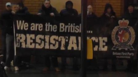 Britain First outside the East London Mosque in Whitechapel