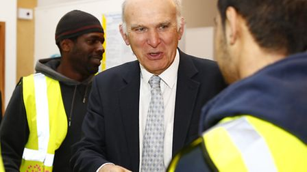 Vince Cable MP talks to apprentices at the launch of Tower Hamlets Building Lives Training Academy i