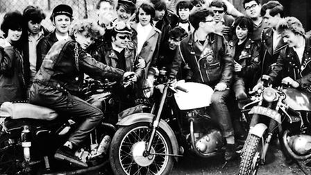 1960s Rockers from the Scorpions biker group at Ace Cafe, North Circular Road, near Wembley