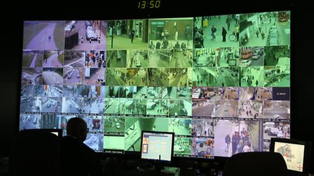 The CCTV nerve centre in the town hall at Mulberry Place detecting and deterring crime and disorder