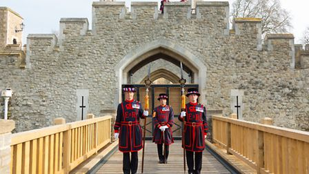 Beefeaters at unveiling of The Tower's new working drawbridge