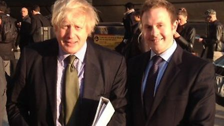 Mayor of London Boris Johnson with candidate Chris Wilford in Canary Wharf