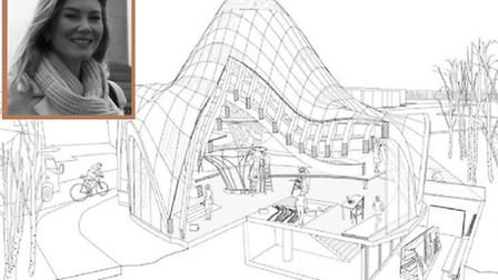 Sarah Jane (inset) and her wooden curved public building design