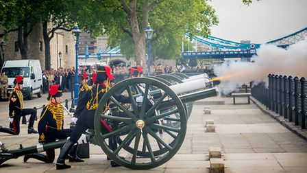 King's Troop Royal Horse Artillery's 19-gun salute at The Tower marking 300th anniversary of Britain