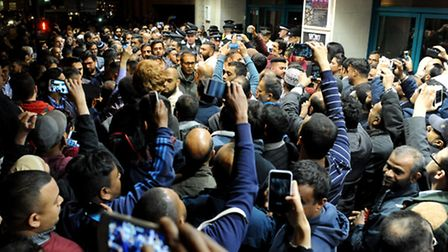 Chaos outside the election count in Limehouse on May 23 Photo: David Mirzoeff