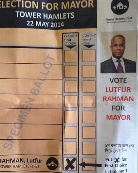 Leaflet found in Tower Hamlets polling booth