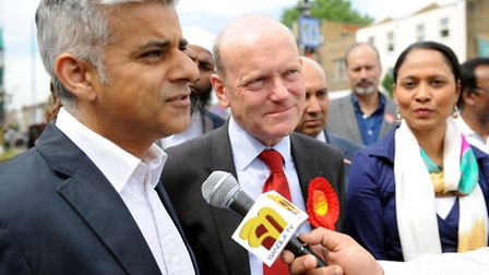 Left to right: Shadow London Minster Sadiq Khan, London Mayor candidate John Biggs and MP for Bethna