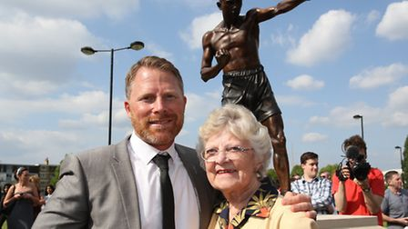 The unveiling of a life size bronze statue of boxing legend Teddy Baldock, 'The Pride of Poplar' ove