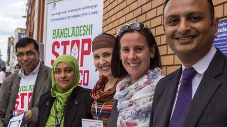 Dr Somen Banerjee (right) with public health advisers at last year's Bangladeshi Stop Tobacco Projec