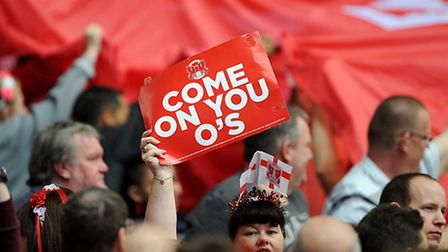 Leyton Orient fans in the stands at Wembley (pic: Nigel French/EMPICS)