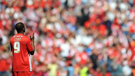 Leyton Orient's Kevin Lisbie says a prayer before kick-off at Wembley (pic: Nigel French/EMPICS)