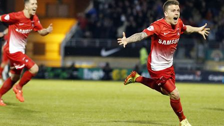 Dean Cox celebrates putting Leyton Orient ahead against Peterborough in the SkyBet League One Play O