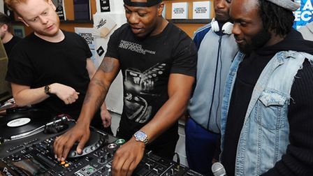 Leon Rolle showing youngsters how to wrap it up as a top DJ [picture: Eamonn McCormack]