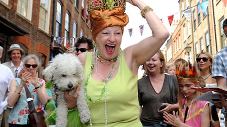 Deborah Aitken and Lillie the dog winning first prize in Spitalfields street party's pet parade