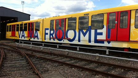 The trains have been redecorated in support of the Tour de France which passes through on July 7