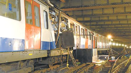 2005 London's 7/7 bombings... wrecked Circle Line train near Aldgate station [Met police photo]